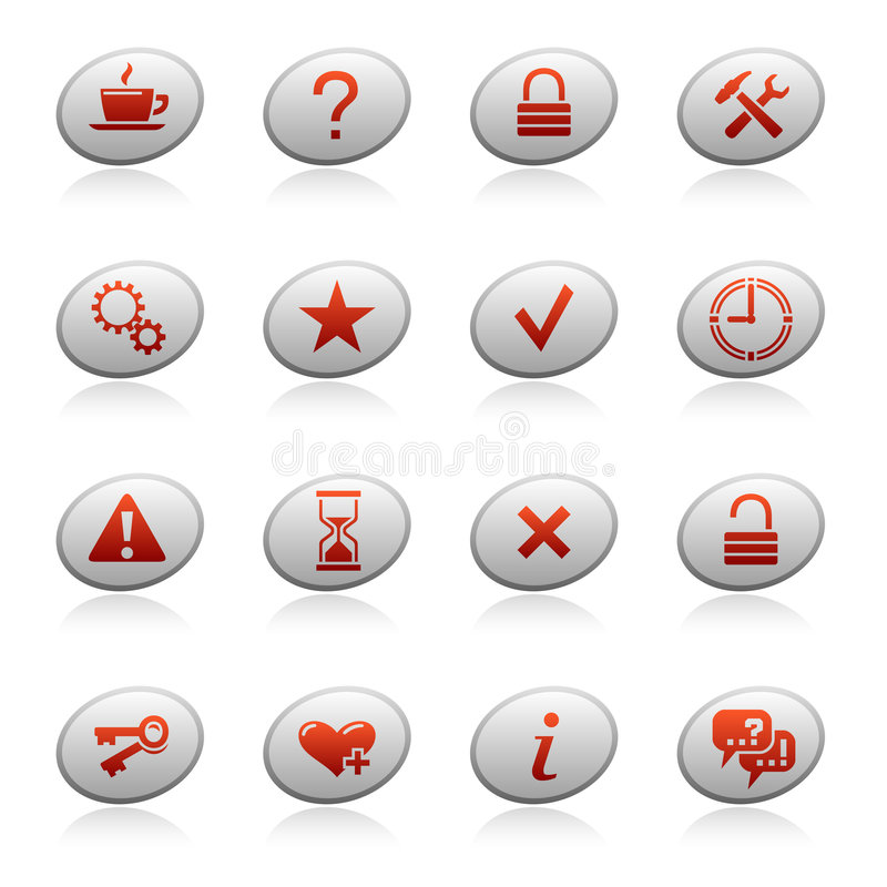 Web icons on ellipse buttons 2 royalty free illustration