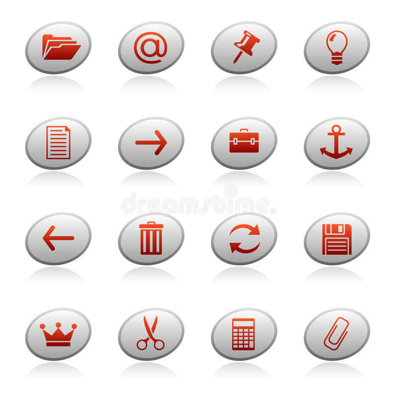 Web icons on ellipse buttons 3 royalty free illustration