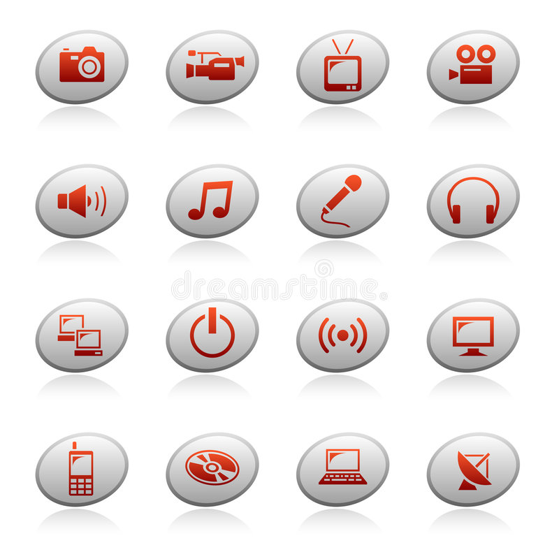 Web icons on ellipse buttons 4 stock illustration