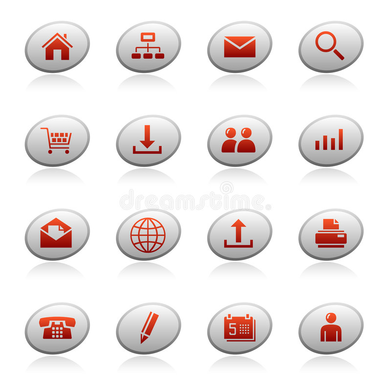 Web icons on ellipse buttons. Set of ellipse buttons with web icons vector illustration