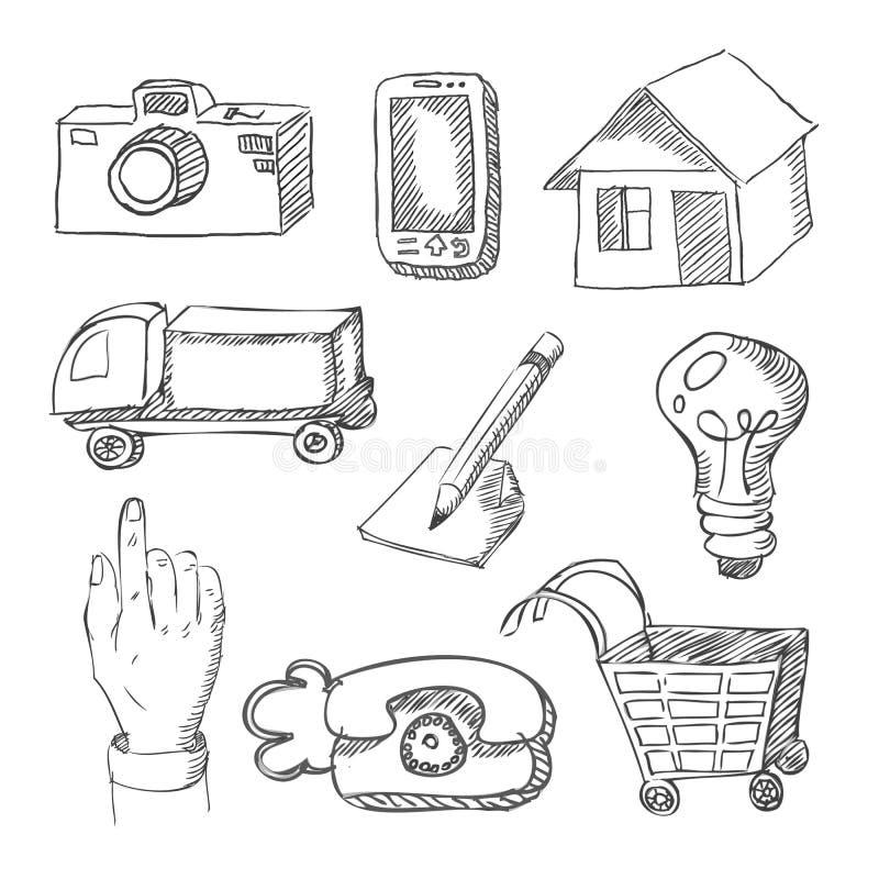 Web icons hand drawn on white royalty free illustration