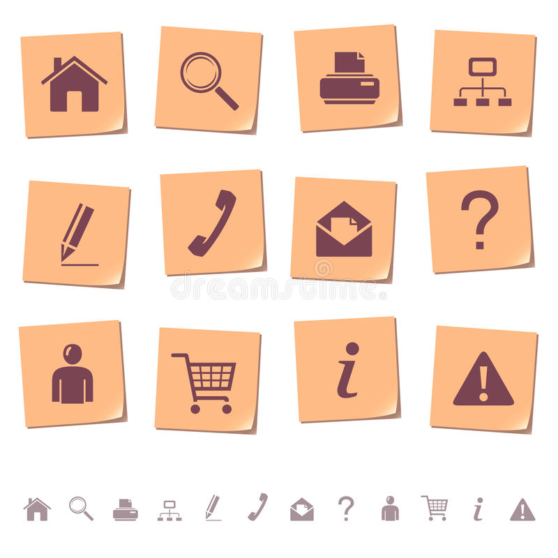 Web icons on memo notes 1. Set of memo notes with web icons. Part one royalty free illustration