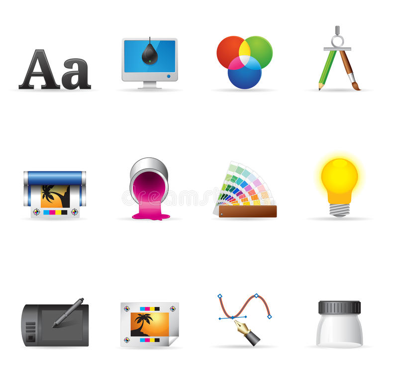 Web Icons - Printing & Graphic Design stock illustration