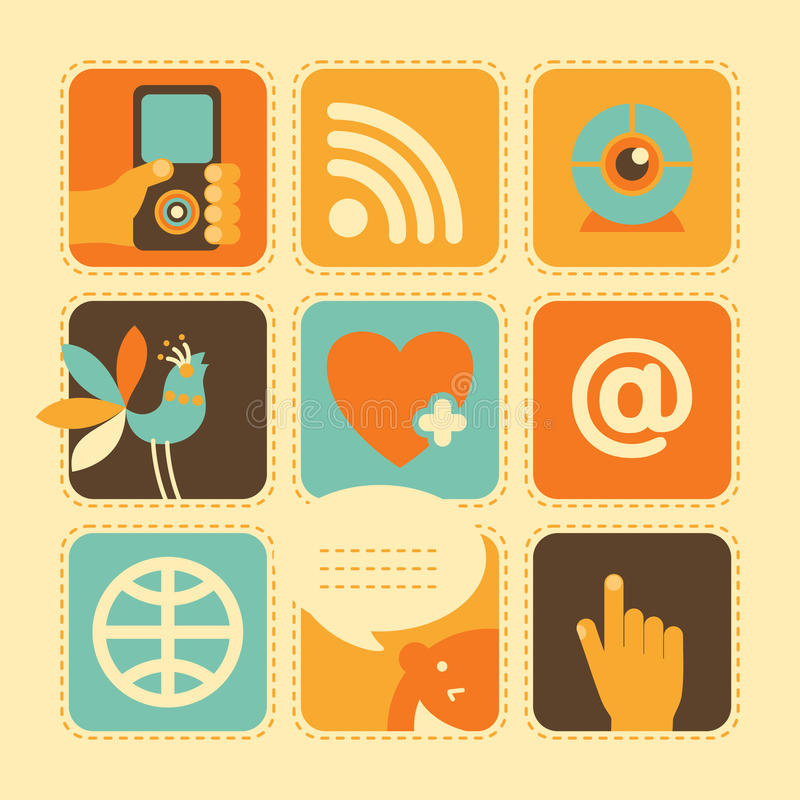 Download Web Icons in Retro-Style stock vector. Image of information - 31728810