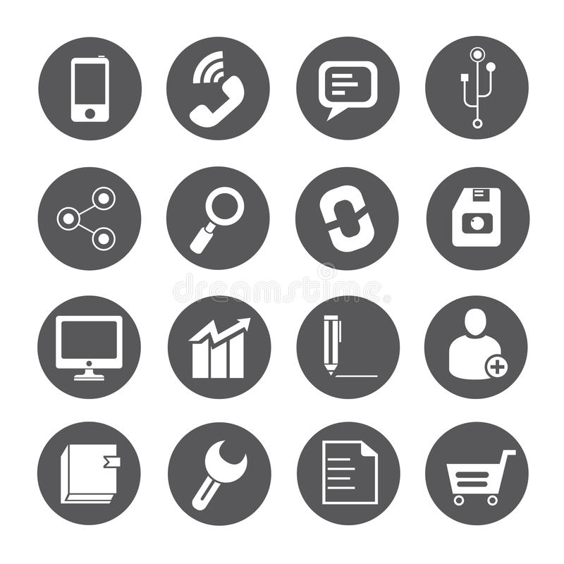 Web icons, round buttons stock illustration