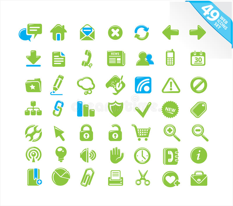 Download Web icons set stock vector. Image of clock, cart, document - 12801783