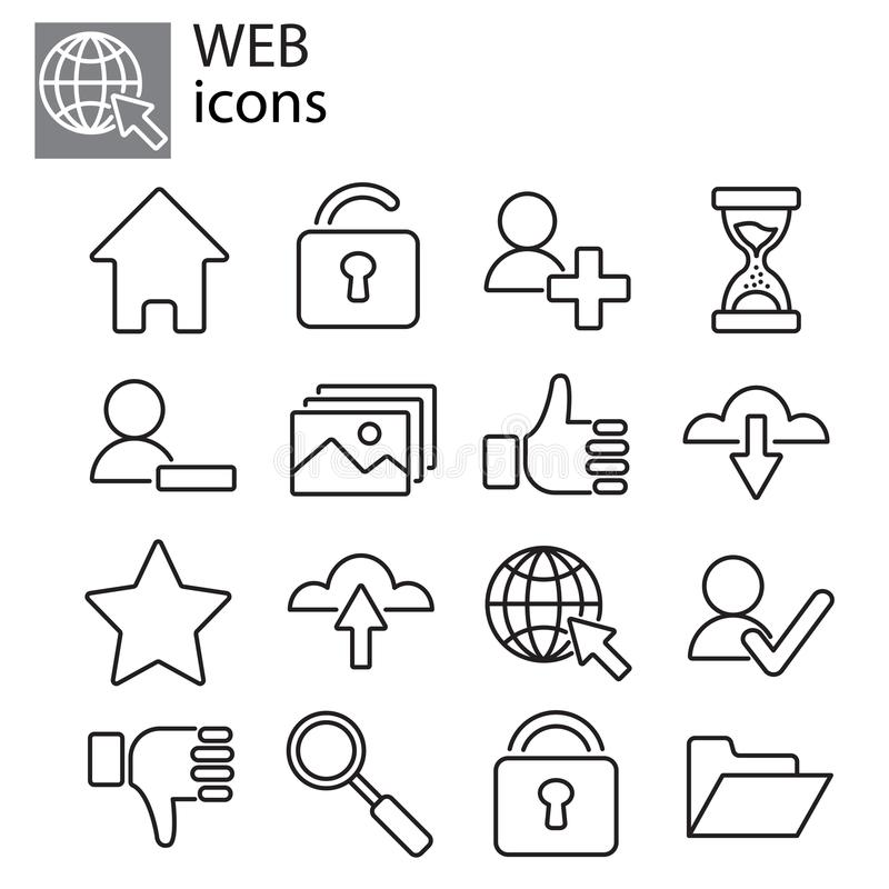 Icons set - Basic web icons, web communication stock illustration