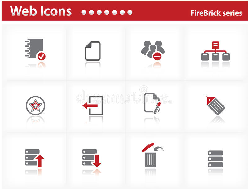 Download Web Icons Set - FireBrick Series Stock Vector - Image: 13995659