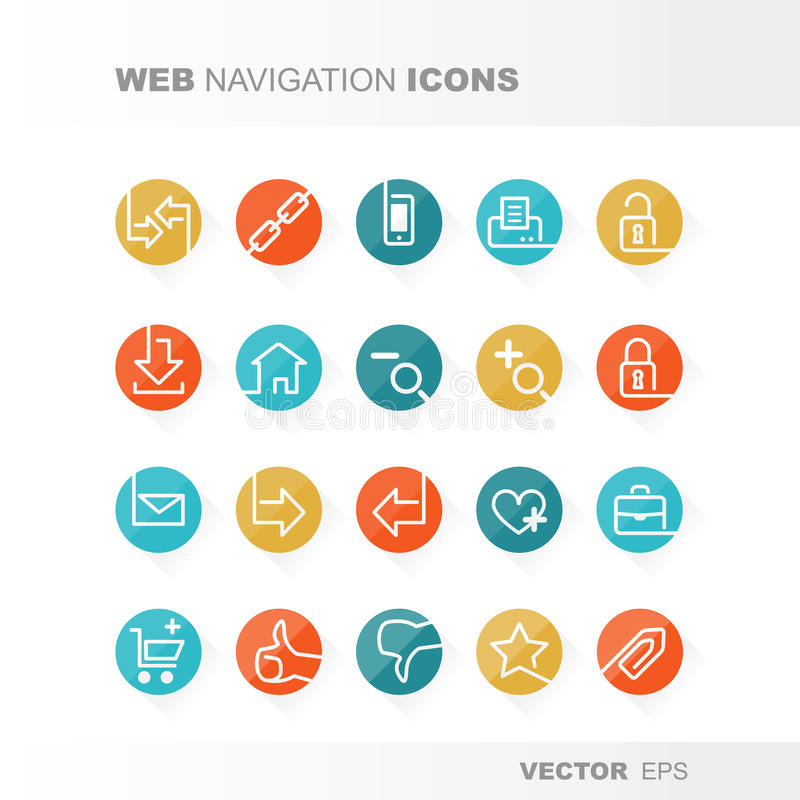 Web icons. Set flat design and retro colors stock illustration