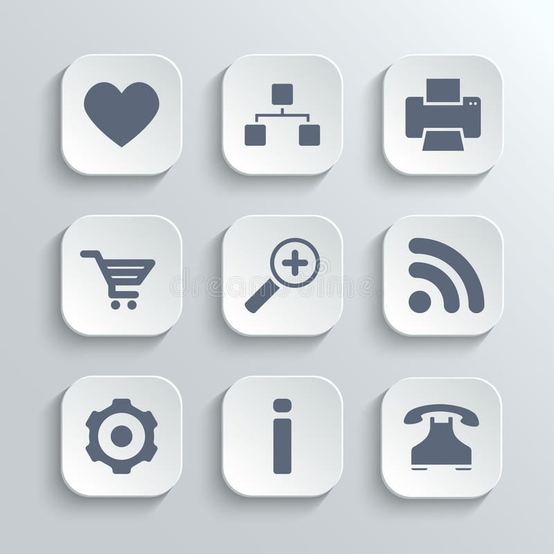 Web icons set - vector white app buttons. With heart follow printer sitemap shopping cart zoom rss settings gear information telephone stock illustration