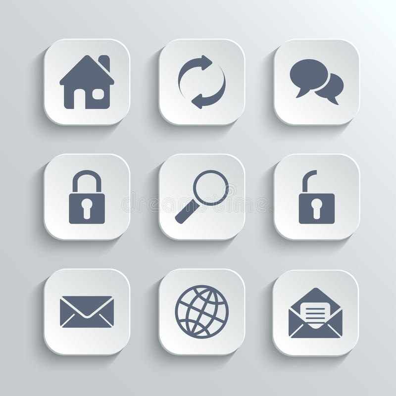 Web icons set - vector white app buttons. With home refresh speech bubble lock search unlock mail globe vector illustration