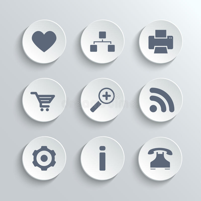Web icons set - vector white round buttons. With heart follow printer sitemap shopping cart zoom rss settings gear information telephone stock illustration