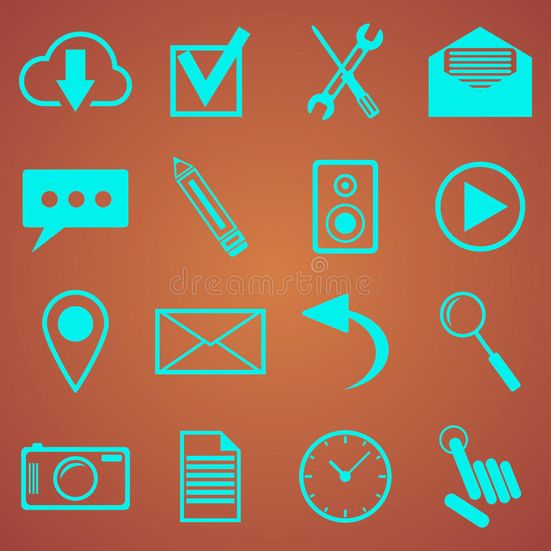 Web icons set for web and mobile applications. Vector illustration stock illustration