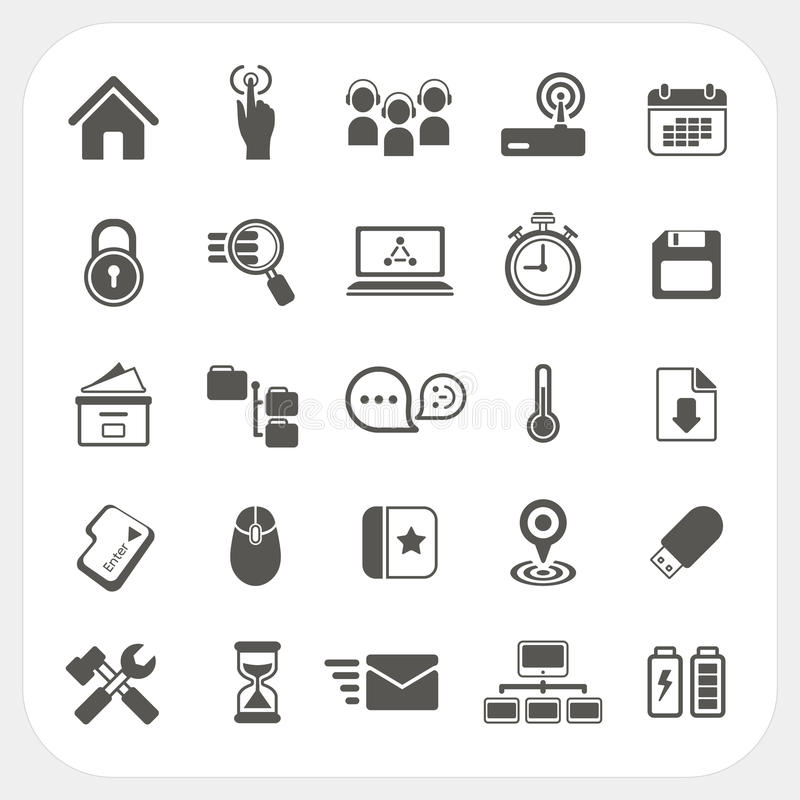 Download Web icons set stock vector. Image of file, glass, element - 33215493