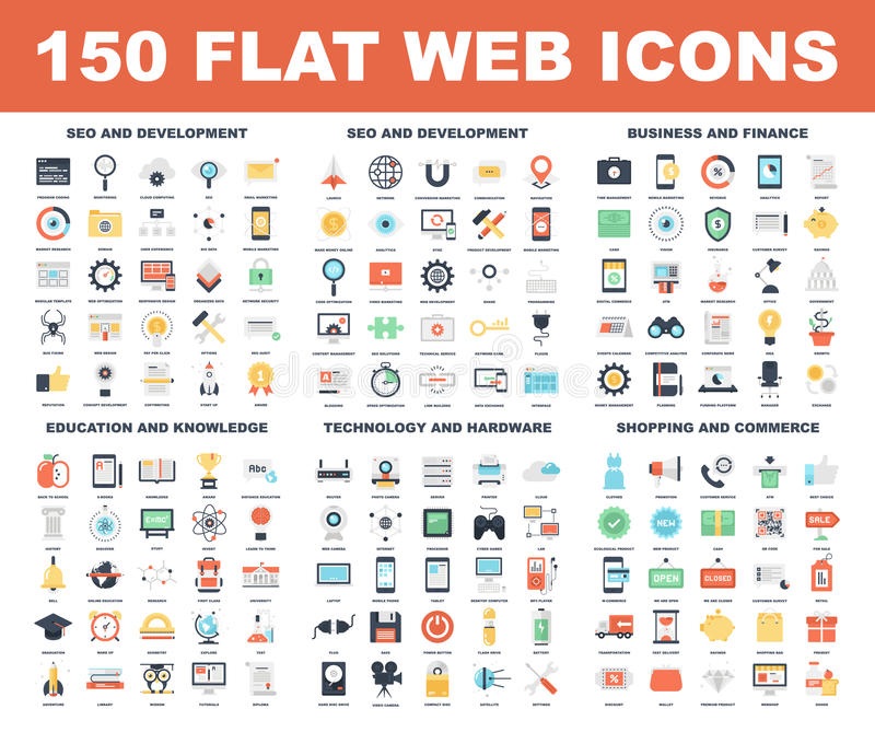 Web Icons. Vector set of 150 flat web icons on following themes - SEO and development, business and finance, education and knowledge, technology and hardware