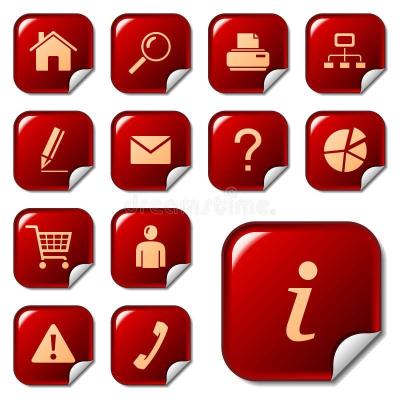 Web-Ikonen auf Aufklebertasten lizenzfreie abbildung