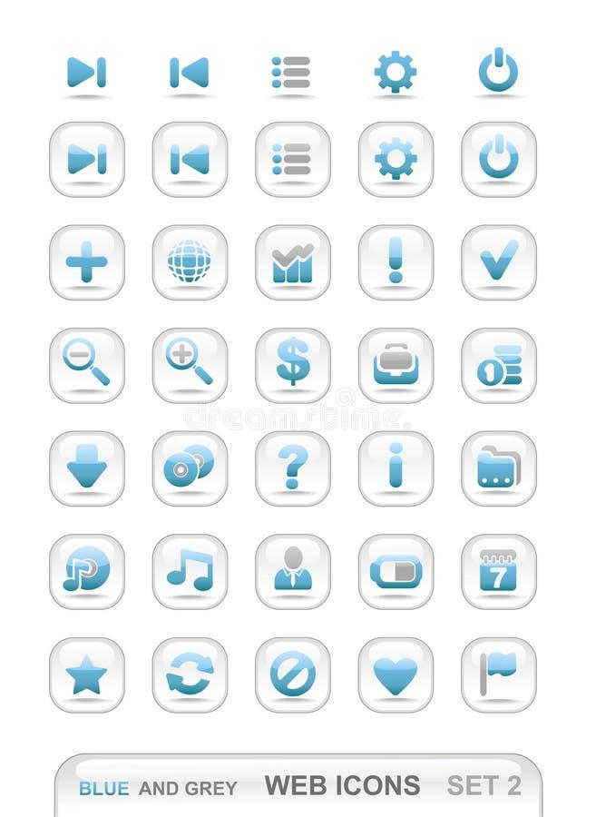 Web-Ikonen. Blau und Grau. Set 2 stockfotos