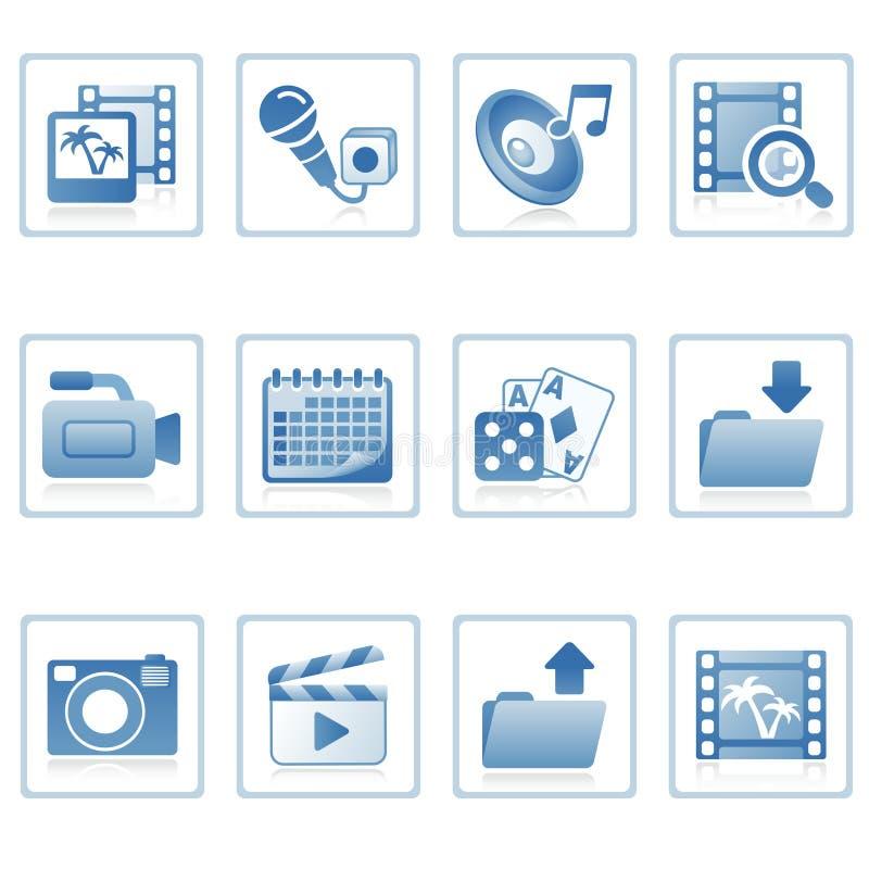 Web-Ikonen: Multimedia auf Mobile lizenzfreie abbildung
