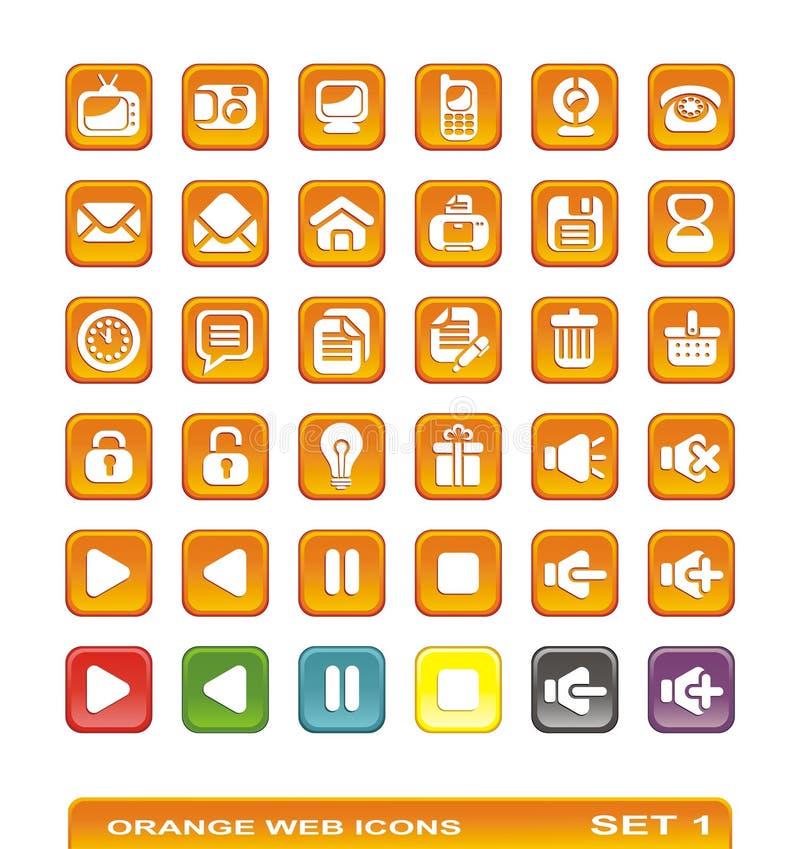 Web-Ikonen. orange. Set 1 lizenzfreie stockfotos