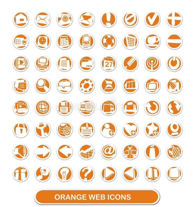 Web-Ikonen. Orange und Weiß stockbilder