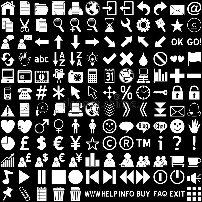 Web-Ikonen - Weiß auf Schwarzem lizenzfreie abbildung