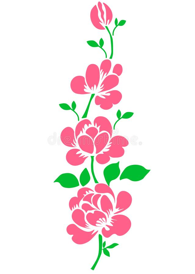 web Il colore rosa ? aumentato Fiore isolato del giardino del mazzo su fondo bianco Arte realistica dell'illustrazione di vettore illustrazione vettoriale