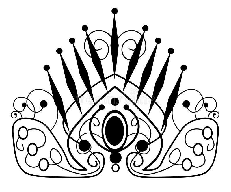 web illustratie van mooi diadeem, kroon, tiarawijfje met edelstenen royalty-vrije illustratie