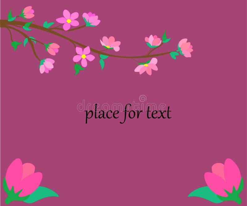 web illustrazione del telaio floreale di rettangolo con il posto per testo Struttura del taglio della carta della primavera con i illustrazione vettoriale