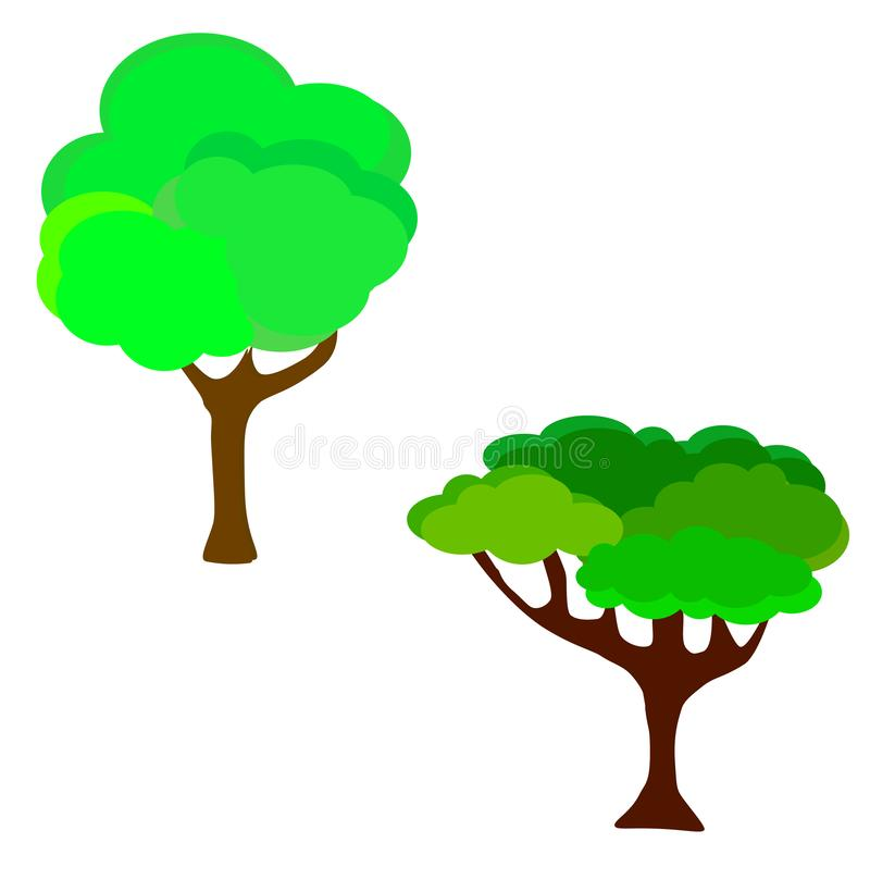 web Illustrazione di vettore dell'albero di verde del giardino del fumetto Gli alberi naturali di verde dell'estate della foglia  illustrazione di stock