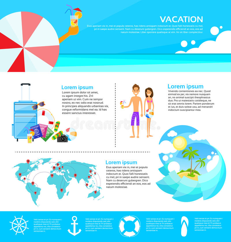 Web Infographic de tourisme de vacances d'été de plage illustration libre de droits