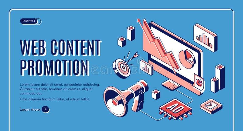Web-Inhalts-Social Media-Förderungs-Netzfahne vektor abbildung