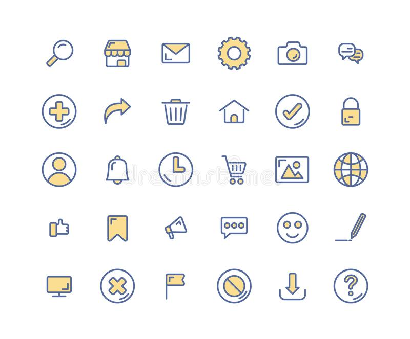 Web Interface filled outline icon set. stock illustration