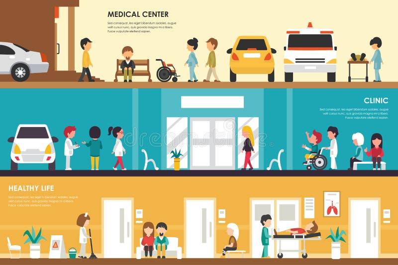 A Web interior do conceito do centro médico, da clínica e do hospital liso saudável da vida vector a ilustração Ambulância, emerg ilustração stock