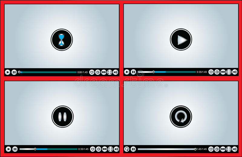 Web or Internet based Glossy Video Player differen royalty free illustration