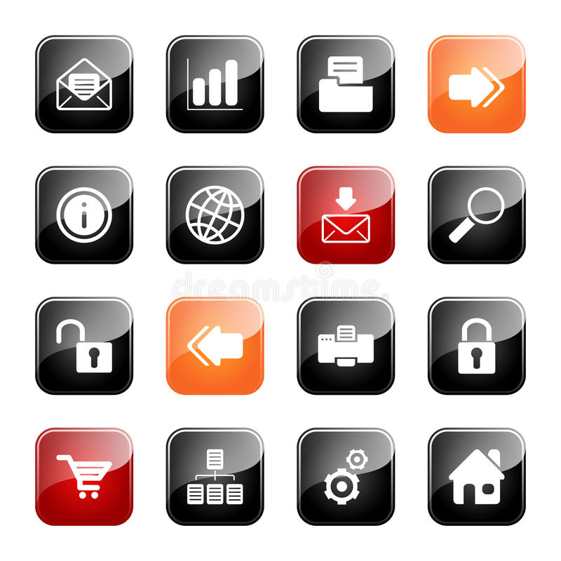 Web and Internet icons - glossy series. Web and Internet- professional icons for your website, application, or presentation, eps10 stock illustration