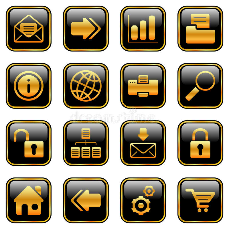Web and Internet icons - golden series vector illustration