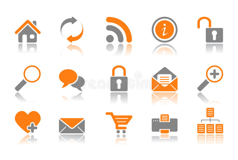 Web and Internet icons - orange series vector illustration