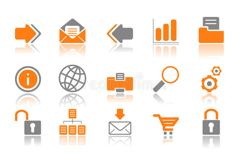 Web and Internet icons - orange series. Web and Internet icons reflected on white background, isolated objects stock illustration