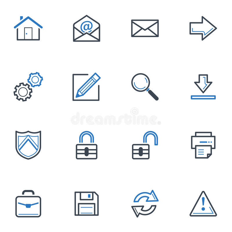 Web And Internet Icons Set 1 - Blue Series Royalty Free Stock Photo