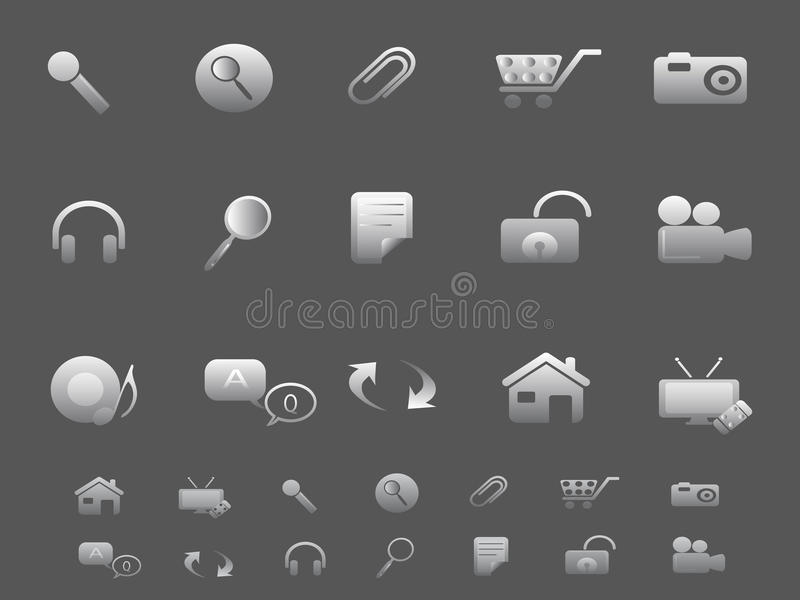 Web and Internet icons set in gray. Background for design royalty free illustration