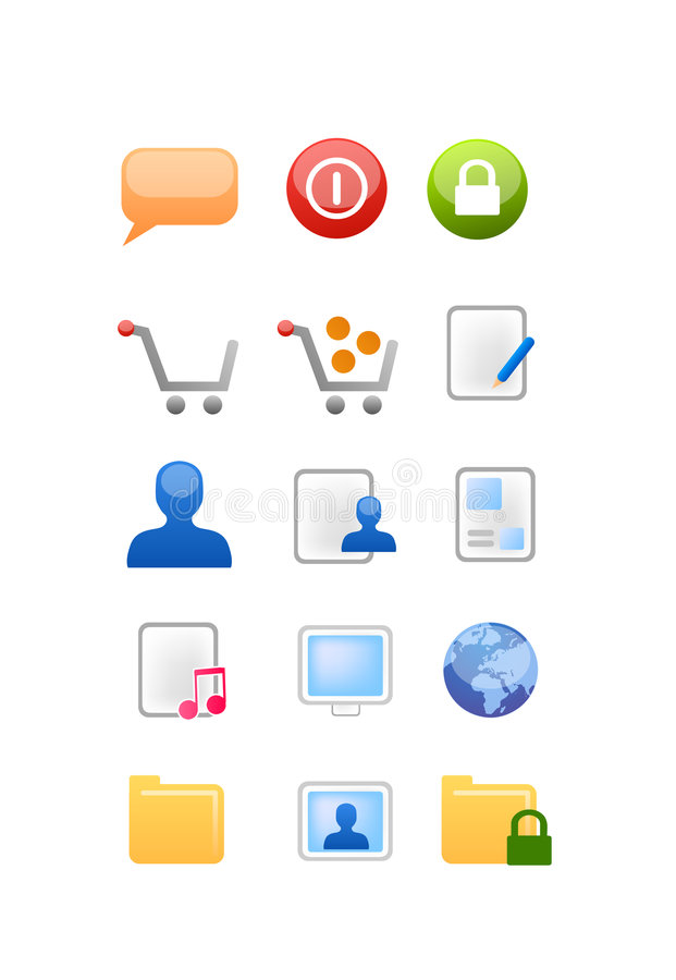 Web and internet icons vector. Vectored icon set for designers of web sites and softwares, with icons for comments, login, log out, shopping cart, edit file stock illustration
