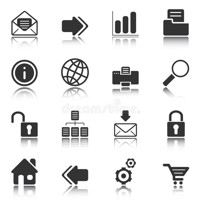 Web and Internet icons - white series stock illustration