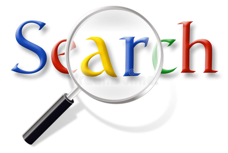 Web Internet Search. Website Search graphic with multi-colored text and magnifying glass in style likened to popular search engine