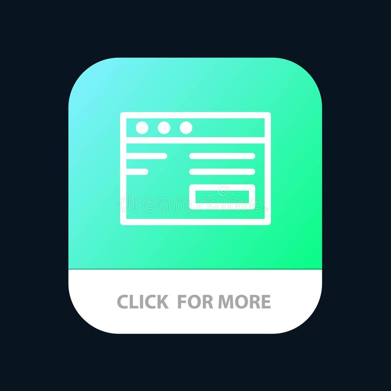 Web , Internet, Study, School Mobile App Button. Android and IOS Line Version vector illustration