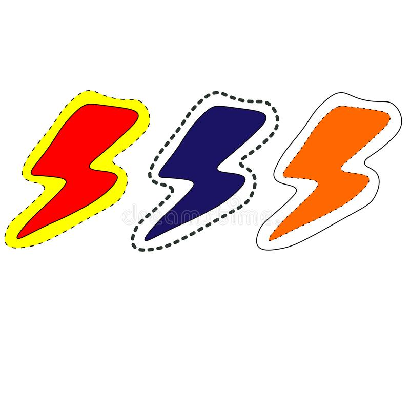 web inzameling van het ontwerp van de bliksemkleur, embleem vectormalplaatje stock illustratie
