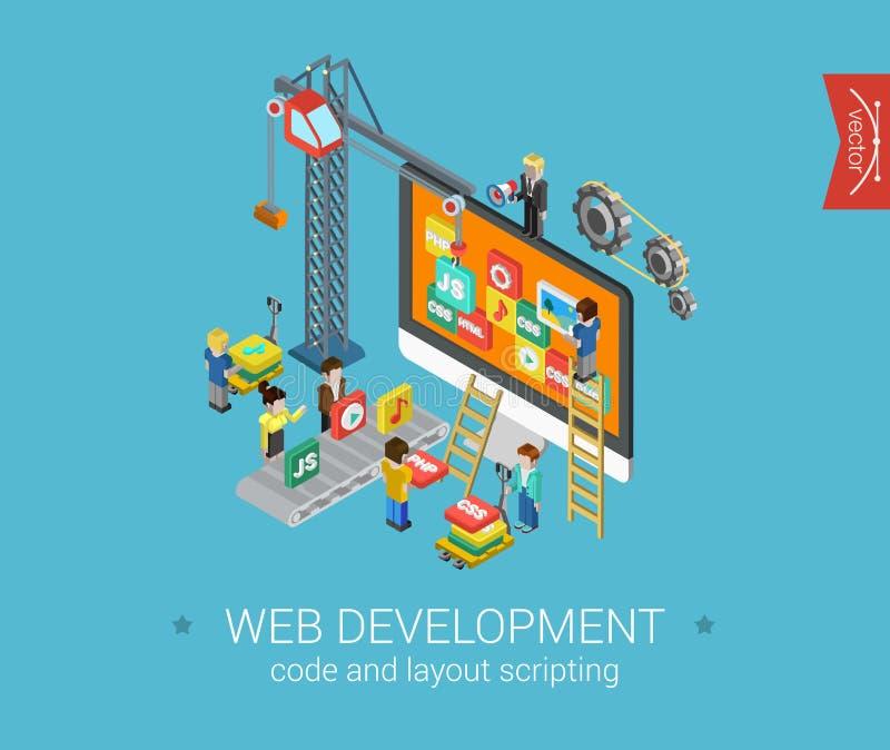 Web isométrica lisa do conceito de projeto 3d infographic ilustração stock