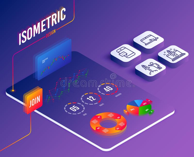 Web. Isometric vector. Set of Portable computer, Start business and Smartphone message icons. Launch project sign. Notebook device, Launch idea, Cellphone chat vector illustration