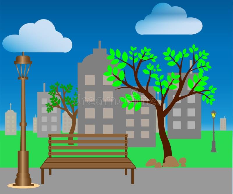 web Karikaturillustration eines modernen leeren Stadtparks mit Wolkenkratzergeb?udehintergrund lizenzfreie abbildung