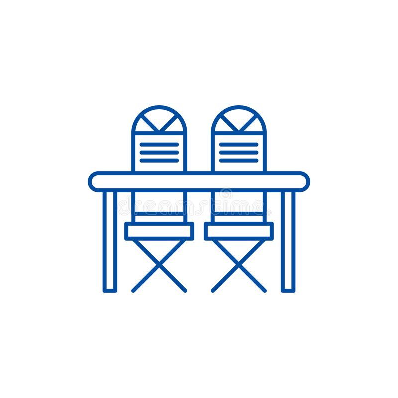 Kitchen table and chairs line icon concept. Kitchen table and chairs flat  vector symbol, sign, outline illustration. royalty free illustration