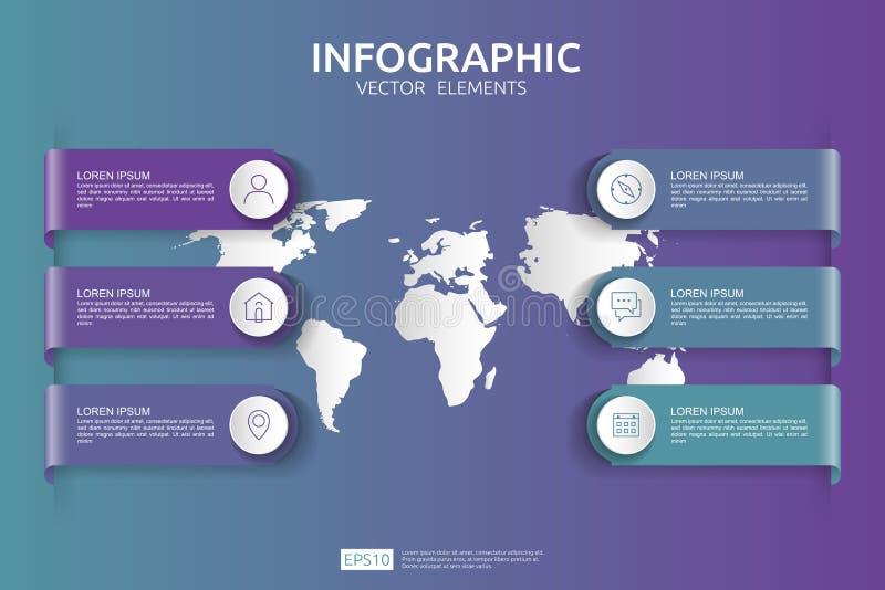 Web6 kroczy infographic linia czasu projekta szablon z 3D papieru etykietką i światowej mapy tłem Biznesowy pojęcie z opcjami dla royalty ilustracja